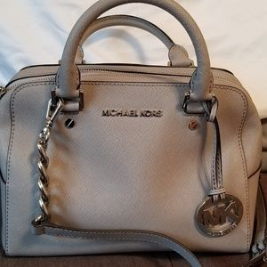 Medium gray Michael Kors leather tote bag